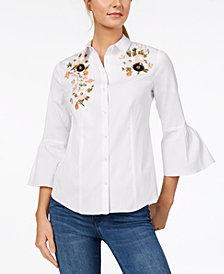 Charter Club Embellished Bell-Sleeve Shirt, Created for Macy's