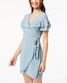 Teeze Me Juniors' Ruffled Clip-Dot Faux-Wrap Dress