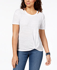 Style & Co Petite Cutout T-Shirt, Created for Macy's