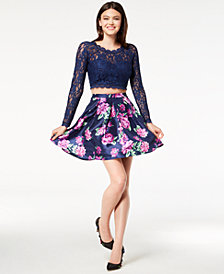 My Michelle Juniors' Glitter Lace Printed 2-Pc. Fit & Flare Dress