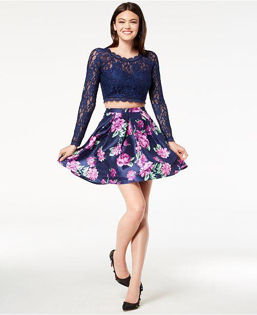 e6debe3b680e6 ... Dress; Sequin Hearts Juniors' Glitter Lace Printed 2-Pc. Fit & Flare ...