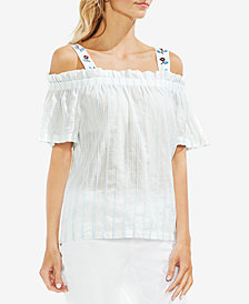 Vince Camuto Cotton Textured-Stripe Cold-Shoulder Top