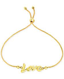Love Script Bolo Bracelet in 10k Gold