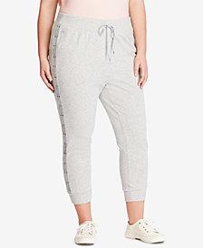 Lauren Ralph Lauren Plus Size Lace-Striped Jogger Crop Pants