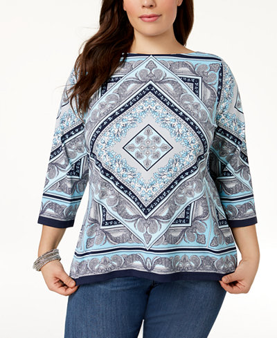Charter Club Plus Size Geo-Print Top, Created for Macy's
