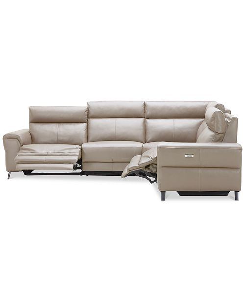 Furniture Raymere 4 Pc Leather Sectional Sofa With 2