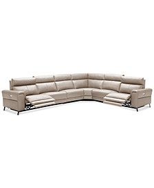 CLOSEOUT! Raymere 6-Pc. Leather Sectional Sofa With 2 Power Recliners, Power Headrests And USB Power Outlet, Created for Macy's