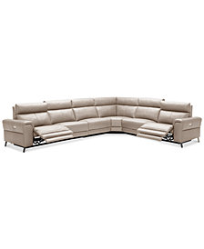 Raymere 6-Pc. Leather Sectional Sofa With 2 Power Recliners, Power Headrests And USB Power Outlet, Created for Macy's