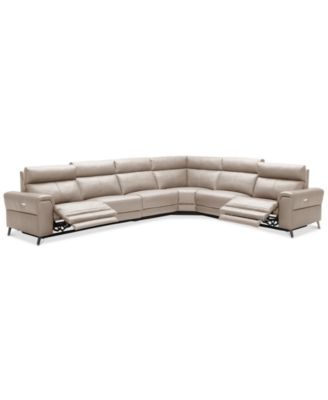 furniture raymere 6 pc leather sectional sofa with 2 power rh macys com beckett 6-pc leather sectional sofa brandie leather 6-piece sectional sofa with 3 power recliners