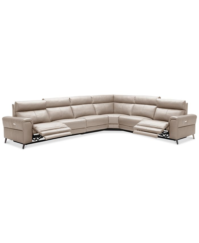 Furniture - Raymere 6-Pc. Leather Sectional Sofa With 2 Power Reclining Chairs, Power Headrests, And USB Power Outlet