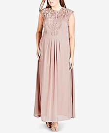 City Chic Trendy Plus Size Lace-Trim Maxi Dress