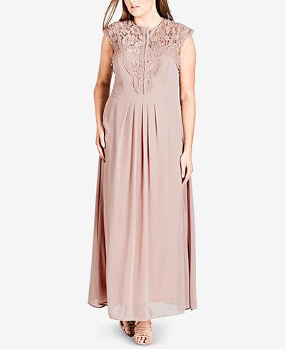 City Chic Trendy Plus Size Lace-Trim Maxi Dress