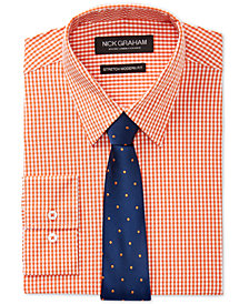 Nick Graham Men's Slim-Fit Stretch Easy-Care Mini Gingham Dress Shirt & Navy Ground Pin Dot Tie Set