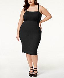 Soprano Trendy Plus Size Lace-Up Bodycon Dress