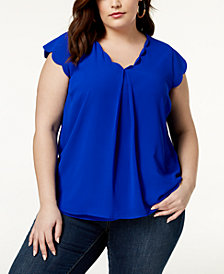 Monteau Trendy Plus Size Scalloped Top