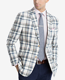 CLOSEOUT! Tommy Hilfiger Men's Modern-Fit Cream/Navy Madras Plaid Sport Coat
