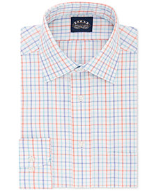 Eagle Men's Classic/Regular Fit Non-Iron Flex Collar Blue & Orange Check Dress Shirt