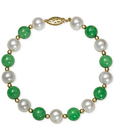 14k Gold Bracelet, Cultured Freshwater Pearl and Jade