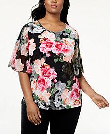 Calvin Klein Plus Size Smocked-Sleeve Top