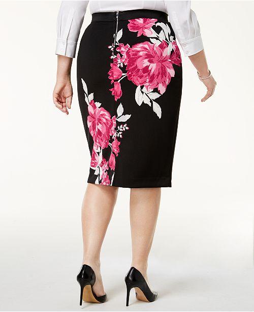 e0f0431143 Alfani Plus Size Printed Pencil Skirt, Created for Macy's & Reviews ...