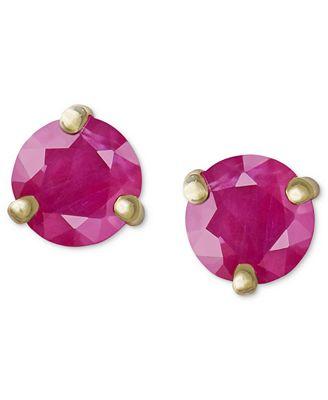 Macy S 14k Gold Earrings Ruby Stud 1 Ct T W Earrings