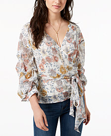 J.O.A. Tiered-Sleeve Wrap Top