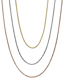 "14k Gold, 14k White Gold and 14k Rose Gold Necklaces, 16-20"" Wheat Chain"
