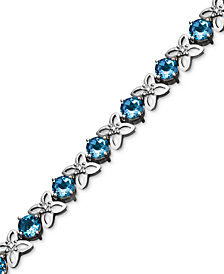 Sterling Silver Blue Topaz (9-1/2 -11-1/10 ct. t.w.) and Diamond Accent Flower Bracelet