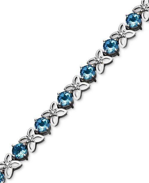 Macy's Sterling Silver Bracelet, Blue Topaz (9-1/2 ct. t.w.) and Diamond Accent Flower