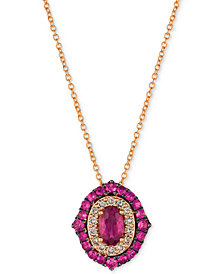 "Le Vian Strawberry & Nude™ Passion Ruby™ (1-1/4 ct. t.w.) & Diamond (1/4 ct. t.w.) 18"" Pendant Necklace in 14k Rose Gold"