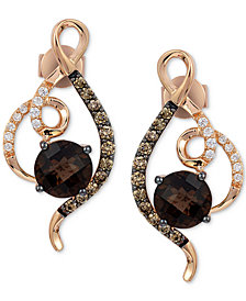 Le Vian Chocolatier® Chocolate Quartz® (1-1/2 ct. t.w.) & Diamond (1/3 ct. t.w.) Drop Earrings in 14k Rose Gold