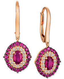 Le Vian Passion Ruby™ (1-5/8 ct. t.w.) & Diamond (1/3 ct. t.w.) Drop Earrings in 14k Rose Gold