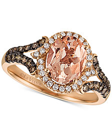 Le Vian Chocolatier® Peach Moranite™ (1-1/3 ct. t.w.) & Diamond (3/8 ct. t.w.) Ring in 14k Rose Gold