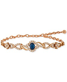 Le Vian Strawberry & Nude™ Blueberry Sapphire (3/4 ct. t.w.) & Diamond (1-1/2 ct. t.w.) Link Bracelet in 14k Rose Gold