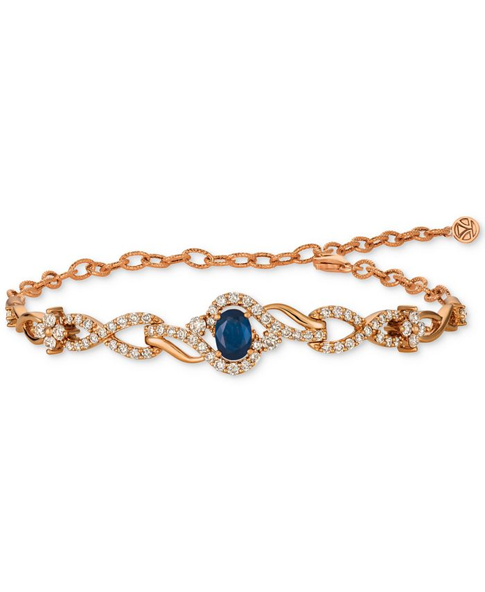 Le Vian - Blueberry Sapphire (3/4 ct. t.w.) & Diamond (1-1/2 ct. t.w.) Link Bracelet in 14k Rose Gold