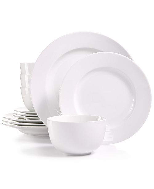 Martha Stewart Collection Whiteware 12-Pc. Dinnerware Set, Service for 4, Created for Macy's