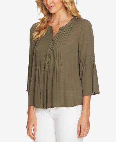 CeCe 3/4-Sleeve Pintuck Shirt