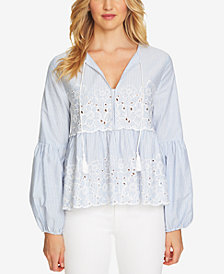 CeCe Embroidered Peasant Top