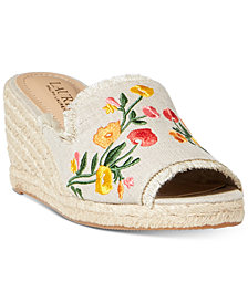 Lauren Ralph Lauren Carlynda Embroidery Espadrille Wedge Sandals