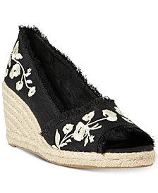 Lauren Ralph Lauren Carmondy Embroidery Espadrille Wedge Sandals