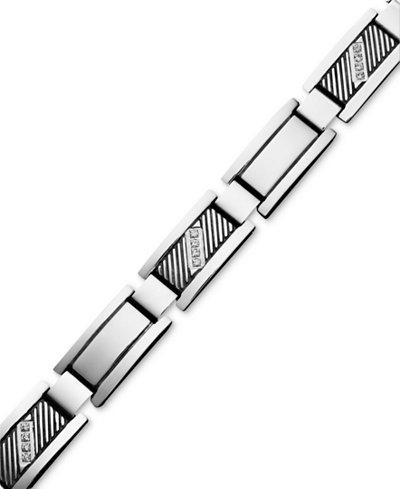 Men S Diamond Rectangle Link Bracelet In Stainless Steel
