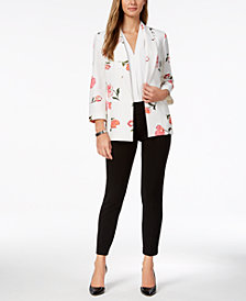 Nine West Printed Crepe Open-Front Blazer, Created for Macy's