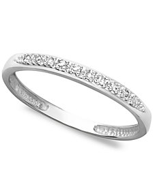 14k White, Yellow, or Rose Gold Ring, Pave Diamond Accent Band