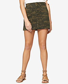 Sanctuary Cotton Camo-Print Released-Hem Skirt
