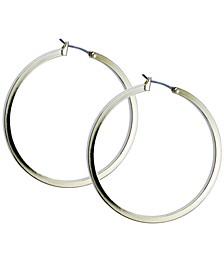 "1 1/2"" Gold-Tone Square Edge Hoop Earrings"