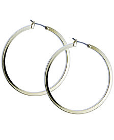GUESS Earrings, Gold-Tone Square Edge Hoop