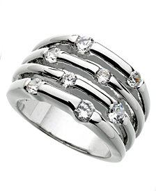 GUESS Ring, Silver-Tone Four Row Crystal