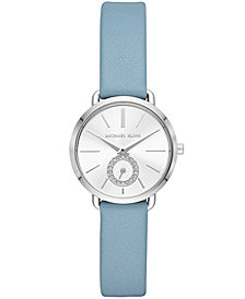 Michael Kors Women's Petite Portia Pale Blue Leather Strap Watch 28mm