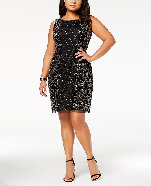 Adrianna Papell Plus Size Beaded Dress & Reviews - Dresses ...