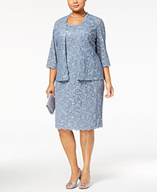 Alex Evenings Plus Size 2-Pc. Sequined Lace Jacket & Dress
